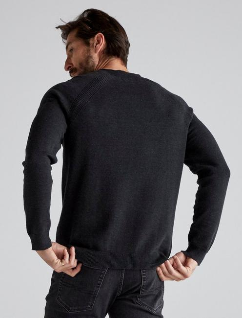 WELTER WEIGHT V-NECK SWEATER, HEATHER BLACK