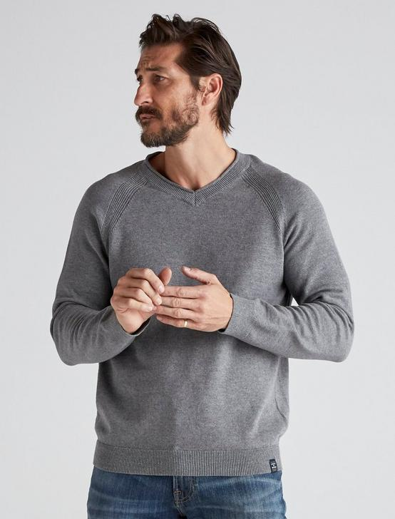 WELTER WEIGHT V-NECK SWEATER, HEATHER GREY, productTileDesktop