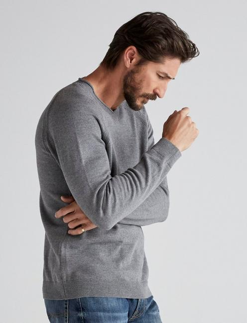 WELTER WEIGHT V-NECK SWEATER, HEATHER GREY