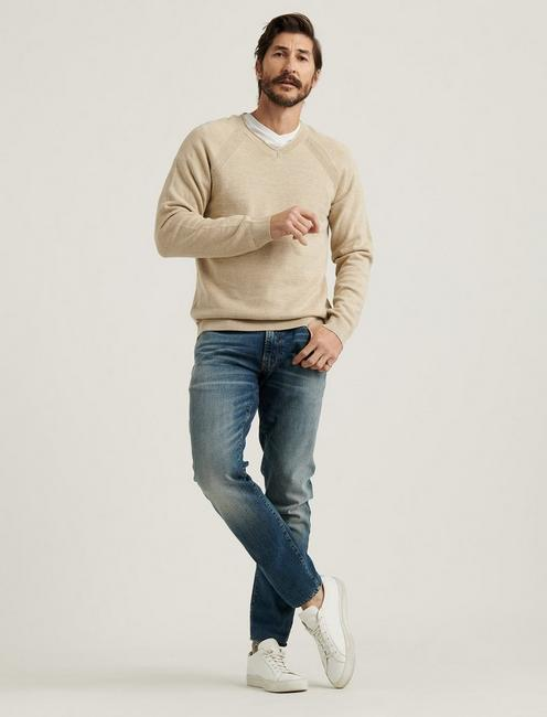 WELTER WEIGHT V-NECK SWEATER, OATMEAL