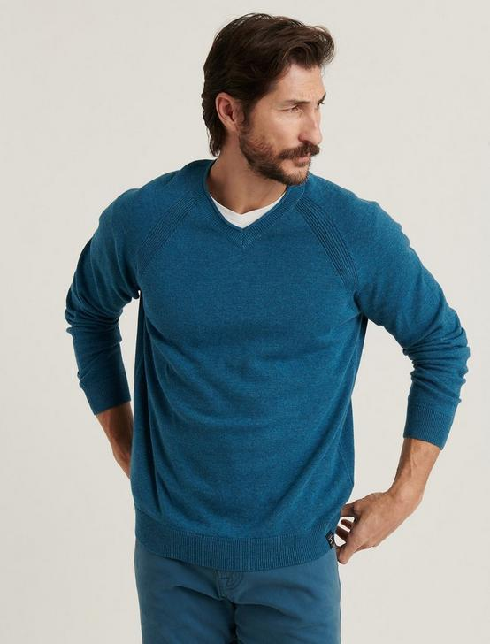 WELTER WEIGHT V-NECK SWEATER, HEATHER INDIAN TEAL, productTileDesktop