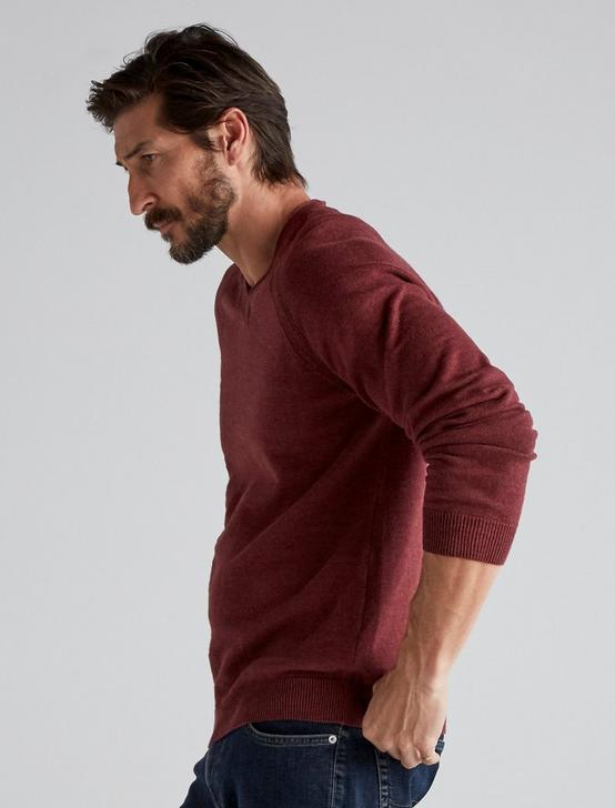 WELTER WEIGHT V-NECK SWEATER, HEATHER BURGUNDY, productTileDesktop