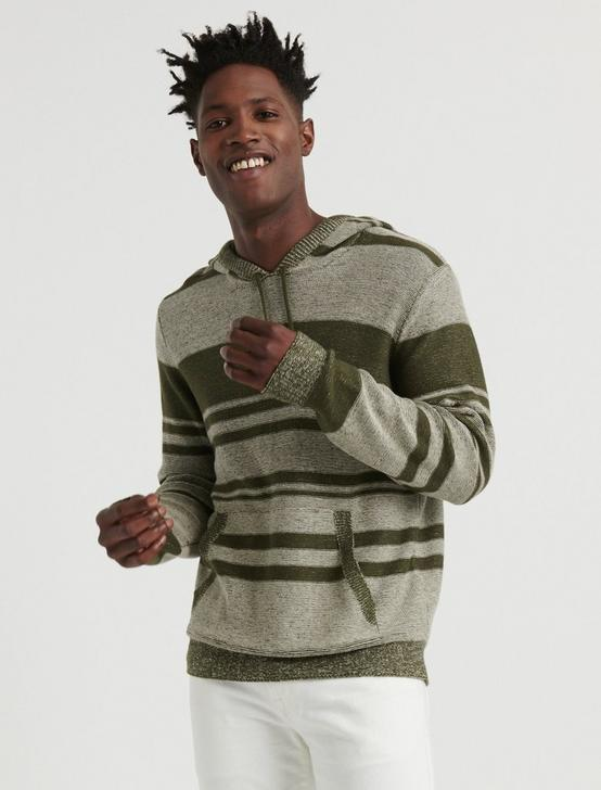 Blanket Stripe Hooded Sweater, OLIVE MULTI, productTileDesktop