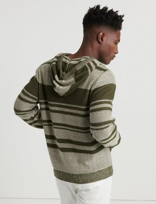 Blanket Stripe Hooded Sweater, OLIVE MULTI