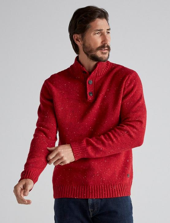DONEGAL BUTTON MOCK SWEATER, HEATHER RED, productTileDesktop