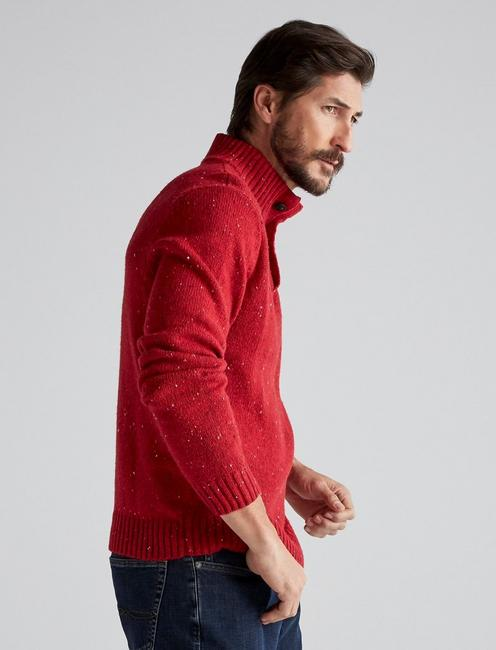 DONEGAL BUTTON MOCK SWEATER, HEATHER RED