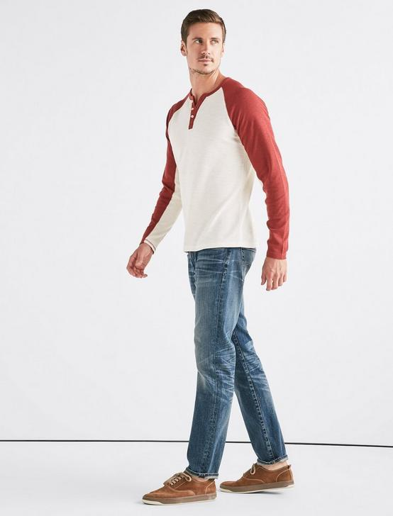 VENICE BURNOUT COLORBLOCK THERMAL HENLEY, RED PEAR, productTileDesktop