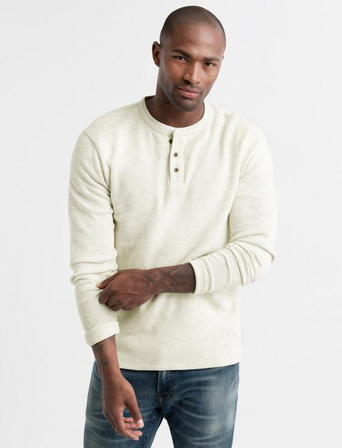 DOUBLE KNIT HEATHER HENLEY,