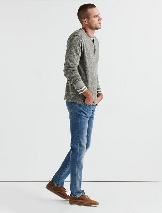 DOUBLE KNIT HEATHER HENLEY, OLIVE, productTileDesktop