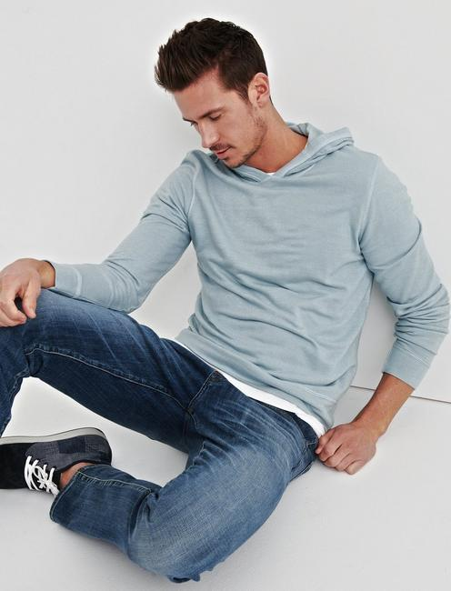 TEXTURED TERRY HOODY, SPRING BLUE #4982