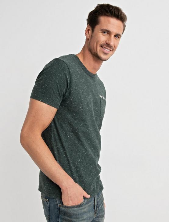 Embroidered Snow Heather Tee, GREEN, productTileDesktop