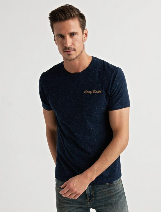 Embroidered Snow Heather Tee, AMERICAN NAVY, productTileDesktop