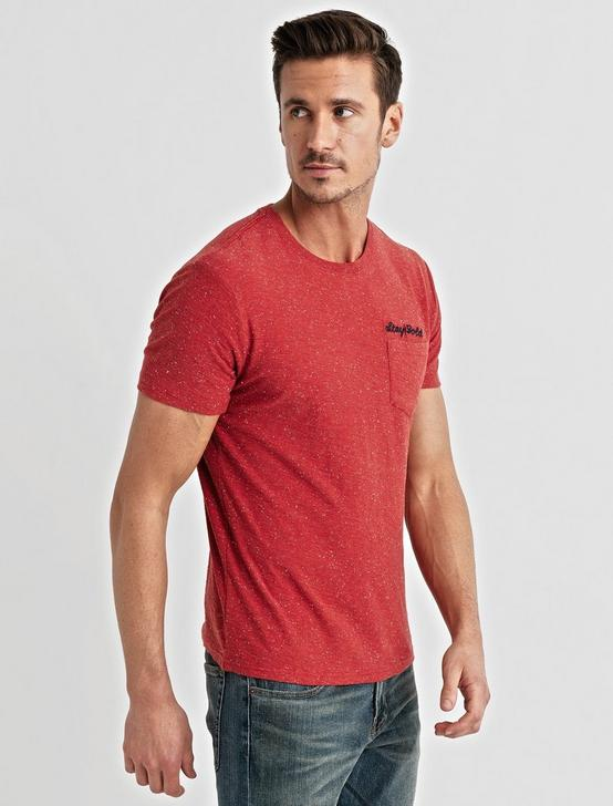 Embroidered Snow Heather Tee, 636 RED, productTileDesktop