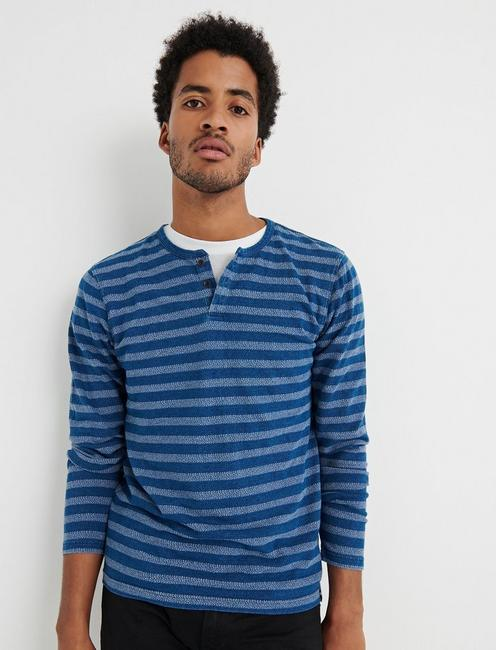 STRIPE INDIGO BUTTON NOTCH,