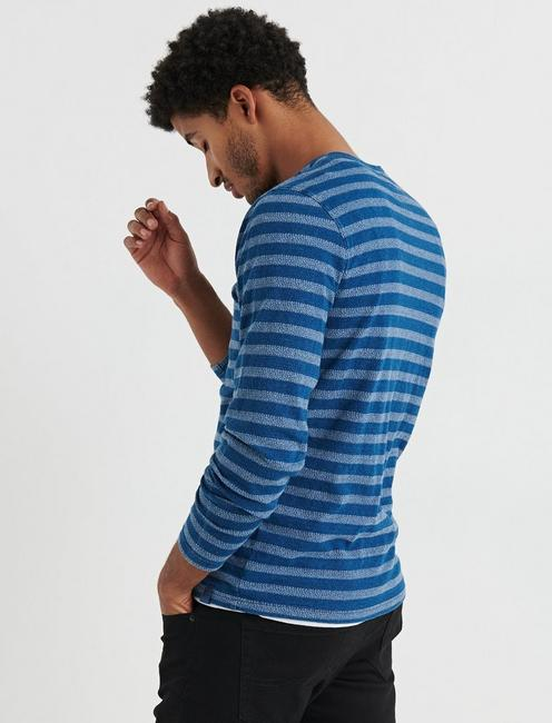 STRIPE INDIGO BUTTON NOTCH, MULTI