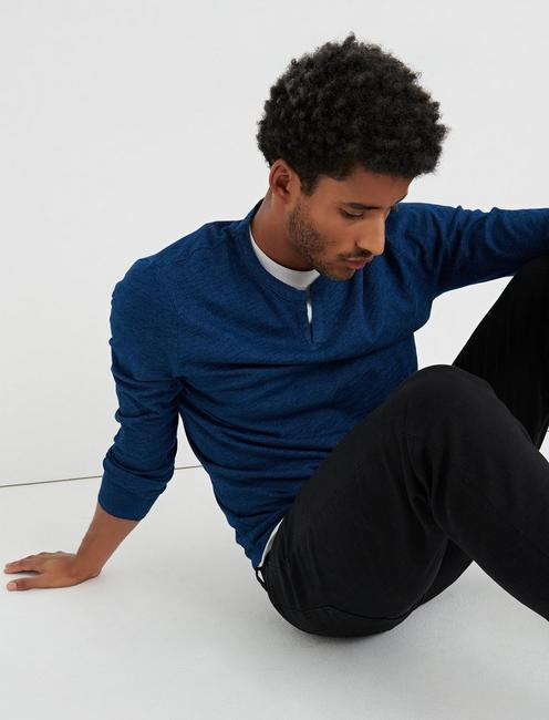 Long Sleeve INDIGO NOTCH TEE,