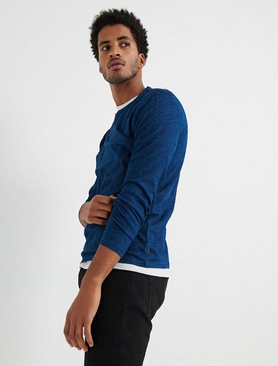 Long Sleeve INDIGO NOTCH TEE, # 419 INDIGO, productTileDesktop