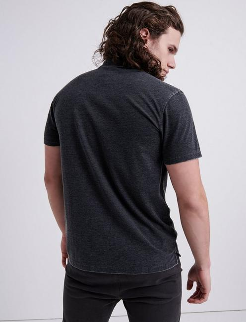 BURNOUT STRETCH PIQUE POLO, JET BLACK