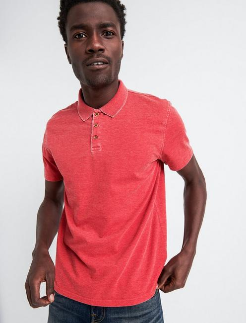 BURNOUT STRETCH PIQUE POLO, CARDINAL