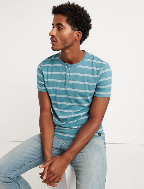 SHORT SLEEVE STRIPED HENLEY, MULTI