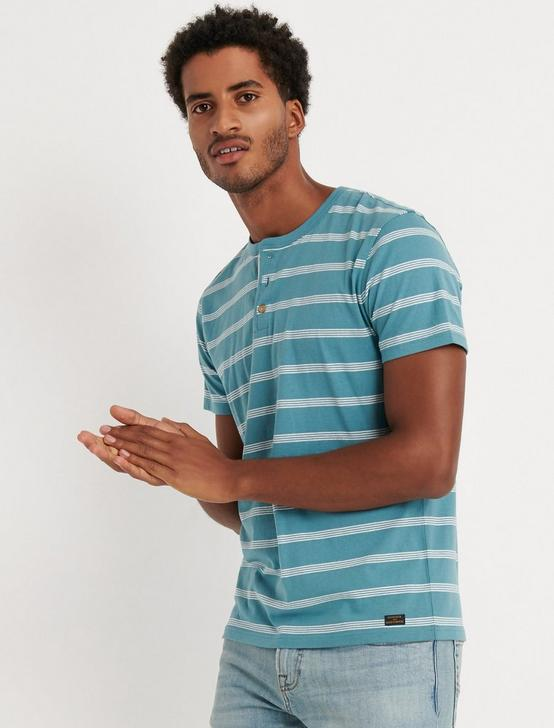 SHORT SLEEVE STRIPED HENLEY, MULTI, productTileDesktop
