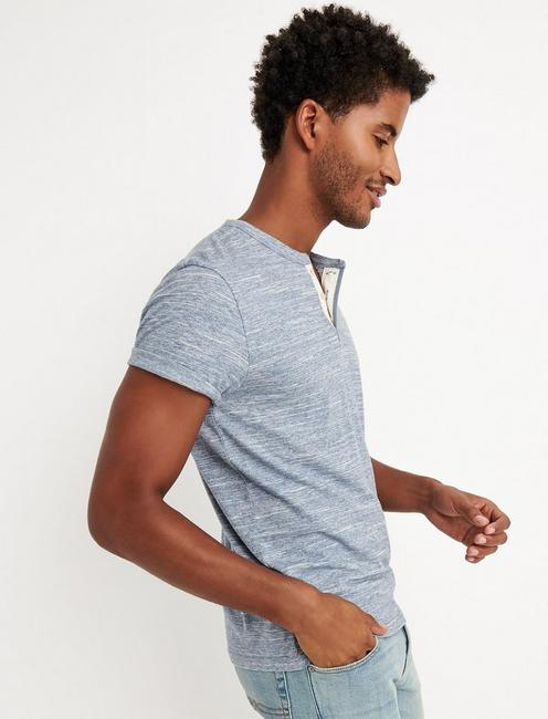 SHORT SLEEVE SPACEDYE HENLEY, SPACE DYE BLUE