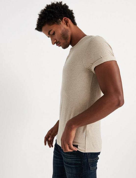 SHORT SLEEVE TRIBLEND HENLEY, OATMEAL, productTileDesktop
