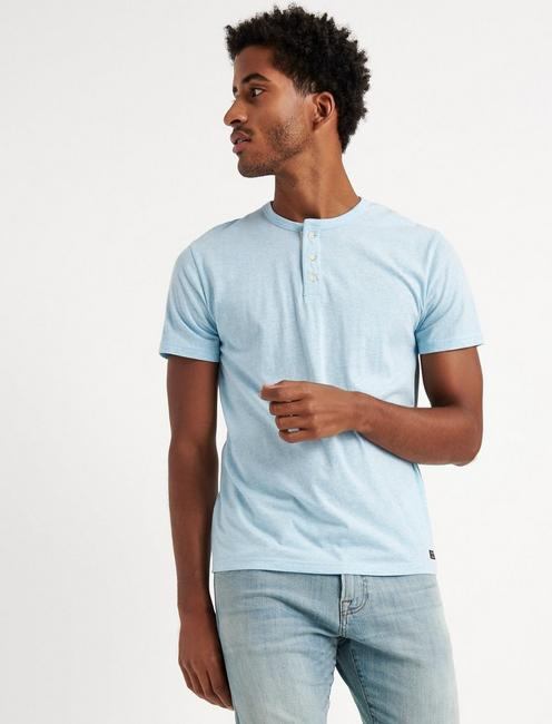 SHORT SLEEVE TRIBLEND HENLEY, 478 LIGHT BLUE