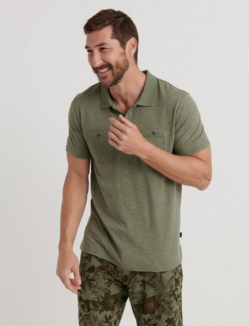 Slub Jersey Military Polo, OLIVINE