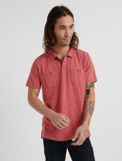 Slub Jersey Military Polo, MINERAL RED