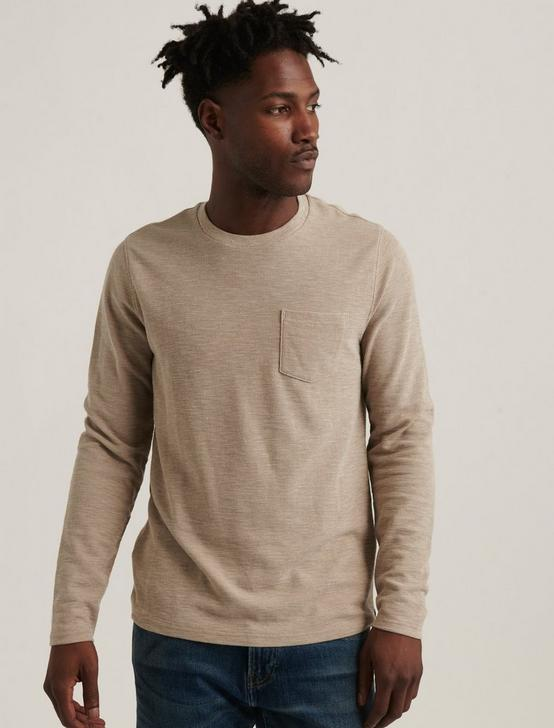 LONG SLEEVE CREW NECK POCKET THERMAL, OATMEAL, productTileDesktop