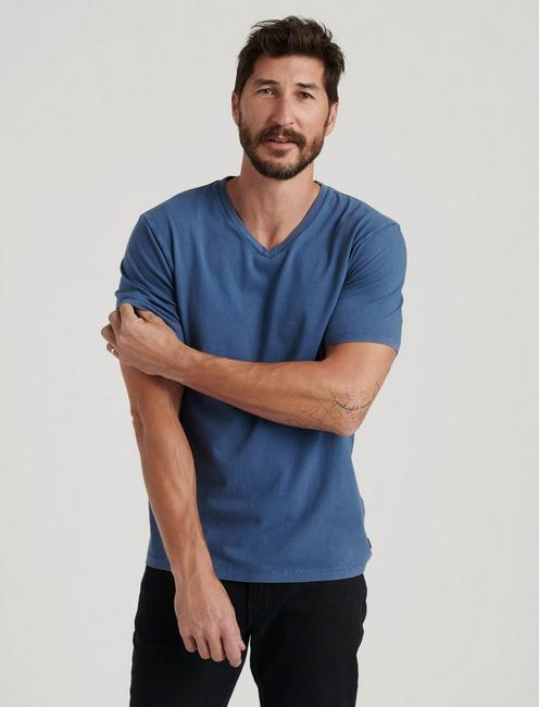 SUNSET V-NECK TEE, DARK DENIM
