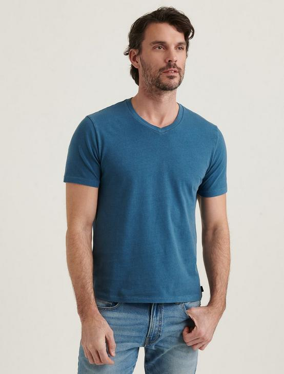 SUNSET V-NECK TEE, INDIAN TEAL, productTileDesktop