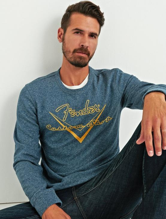 FENDER SWEATSHIRT, HEATHER NAVY, productTileDesktop