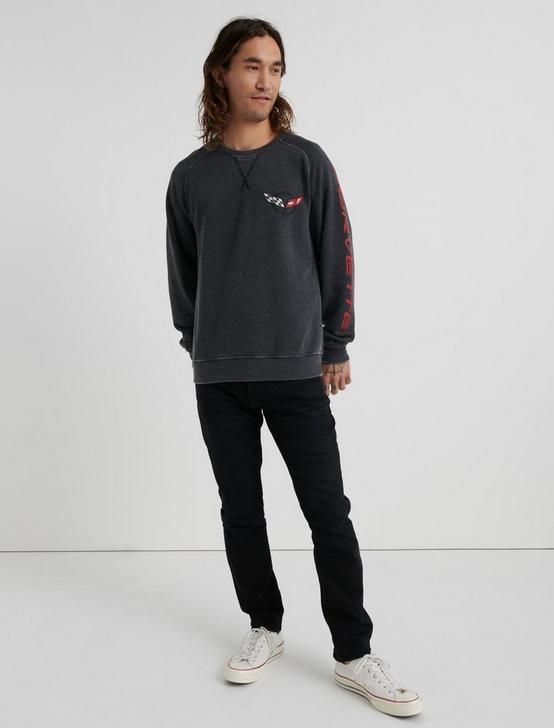 CORVETTE BURNOUT CREW SWEATSHIRT, JET BLACK, productTileDesktop