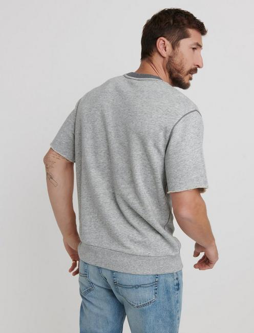 SHORT SLEEVE SWEATSHIRT, HEATHER GREY