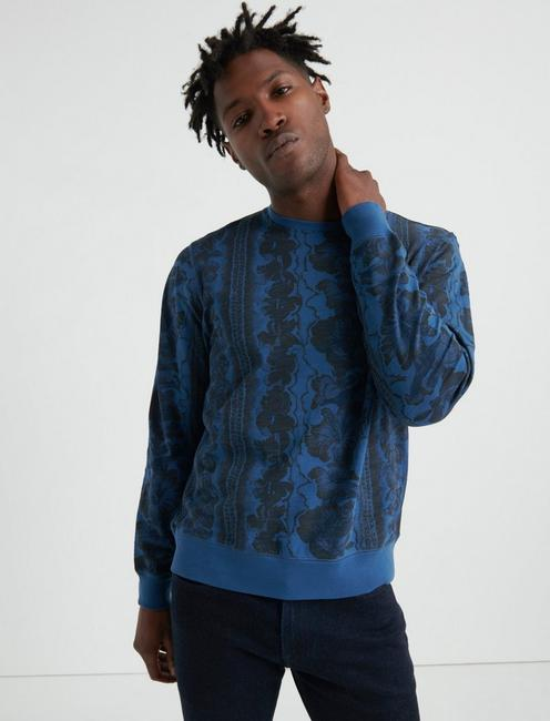 Hawaiian Print Pullover Sweatshirt,