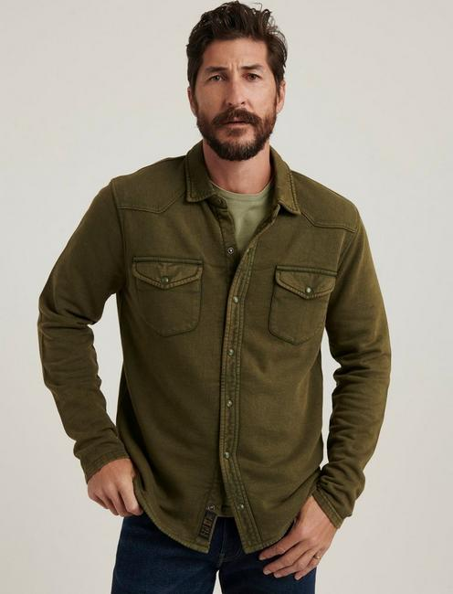 KNIT THERMAL LINED WESTERN SHIRT, IVY GREEN