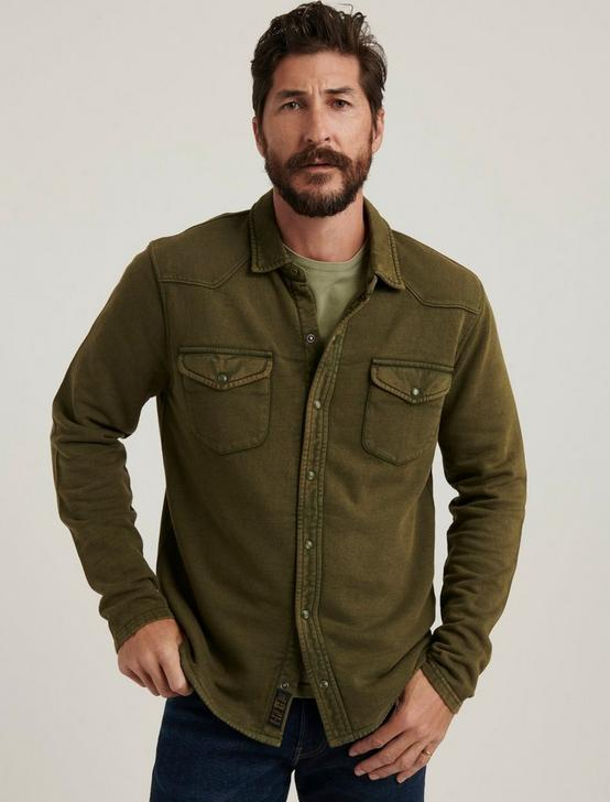 KNIT THERMAL LINED WESTERN SHIRT, IVY GREEN, productTileDesktop