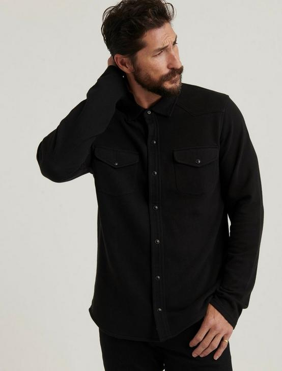 KNIT THERMAL LINED WESTERN SHIRT, JET BLACK, productTileDesktop