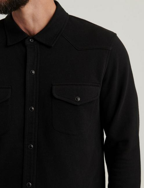 KNIT THERMAL LINED WESTERN SHIRT, JET BLACK