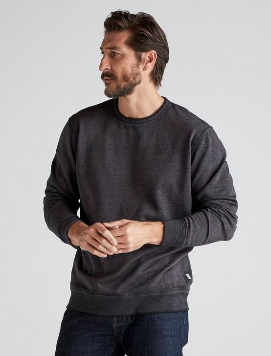 BURNOUT FLEECE CREW NECK, JET BLACK, productTileDesktop