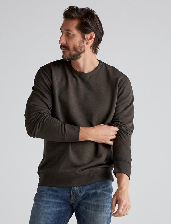 BURNOUT FLEECE CREW NECK, IVY GREEN, productTileDesktop