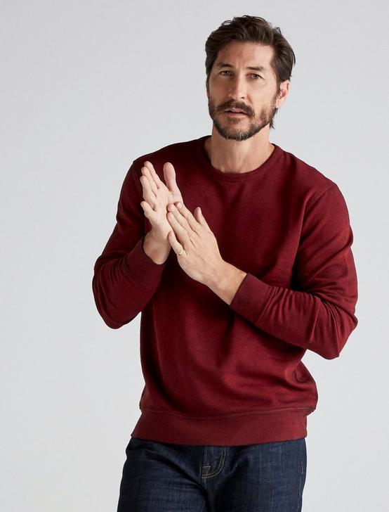BURNOUT FLEECE CREW NECK, POMPEIAN RED, productTileDesktop