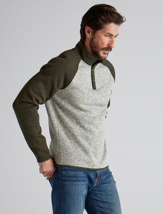 COLORBLOCK MOCK NECK LOS FELIZ FLEECE, OAT MULTI, productTileDesktop