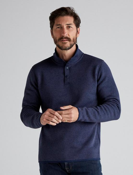 SOLID MOCK NECK LOS FELIZ FLEECE, NAVY, productTileDesktop