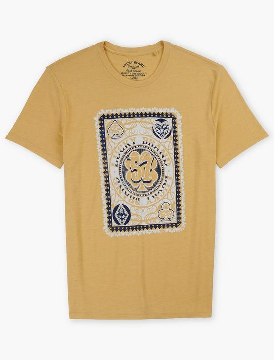 LUCKY POKER CARD TEE, DUSTY GOLD, productTileDesktop