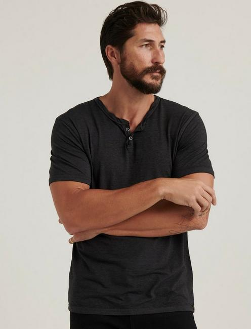 Venice Burnout Notch Neck Tee, #001 BLACK