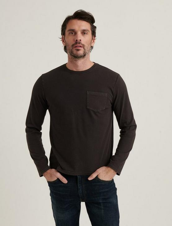 SUNSET CREW NECK LONG SLEEVE TEE, JET BLACK, productTileDesktop