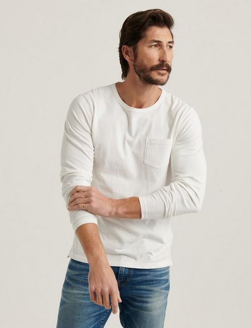 SUNSET CREW NECK LONG SLEEVE TEE, BRIGHT WHITE